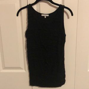 Black Tank with gathered chiffon design
